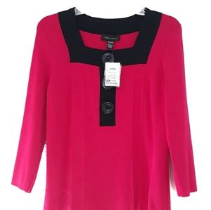 Cable & gauge pink black button top